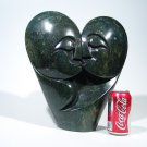 """Lovers Kissing"" Serpentine Shona Stone Sculpture Hand Carved ~Zimbabwe !"