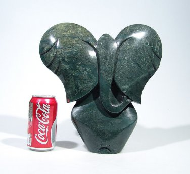 """African Elephant"" Abstract Serpentine Stone Art Handmade in Zimbabwe by Cuth"