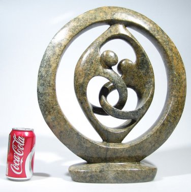 """Lovers Circle"" by Clifford C. Serpentine Hand Carved Shona Sculpture ~Zimbabwe!"