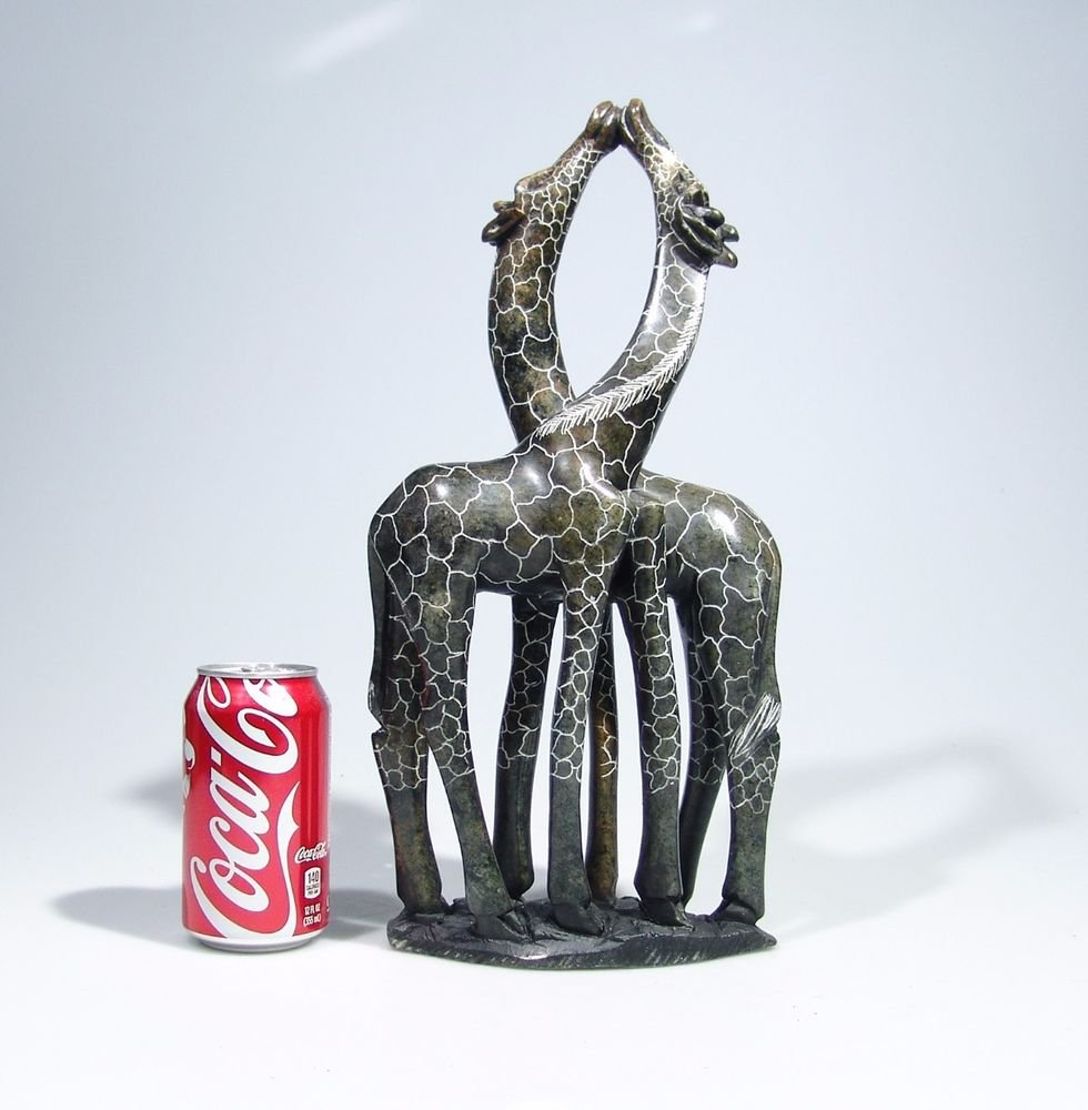 """Giraffes Kissing"" Hand Carved Shona Serpentine Stone ~Zimbabwe!"