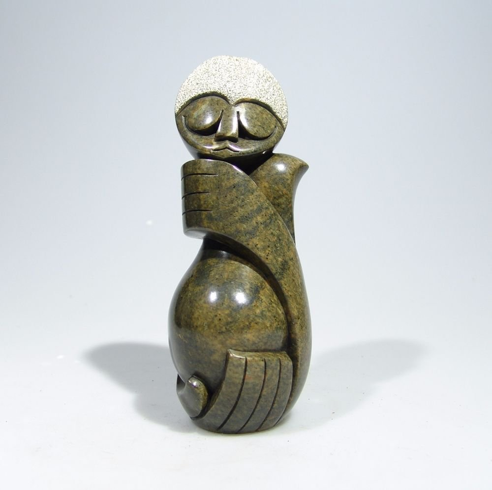 """""""Pregnant Woman"""" Serpentine Shona Stone Sculpture by Cuth Hand made~ Zimbabwe!"""