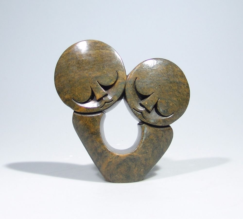 """Lovers in Arrms"" Serpentine Shona Stone Sculpture by Cuth Hand Carved Zimbabwe!"
