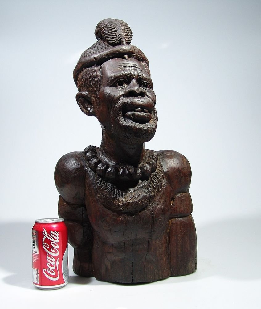 """Shona Chief"" Antique Hardwood Sculpture Hand Carved in Zimbabwe!"