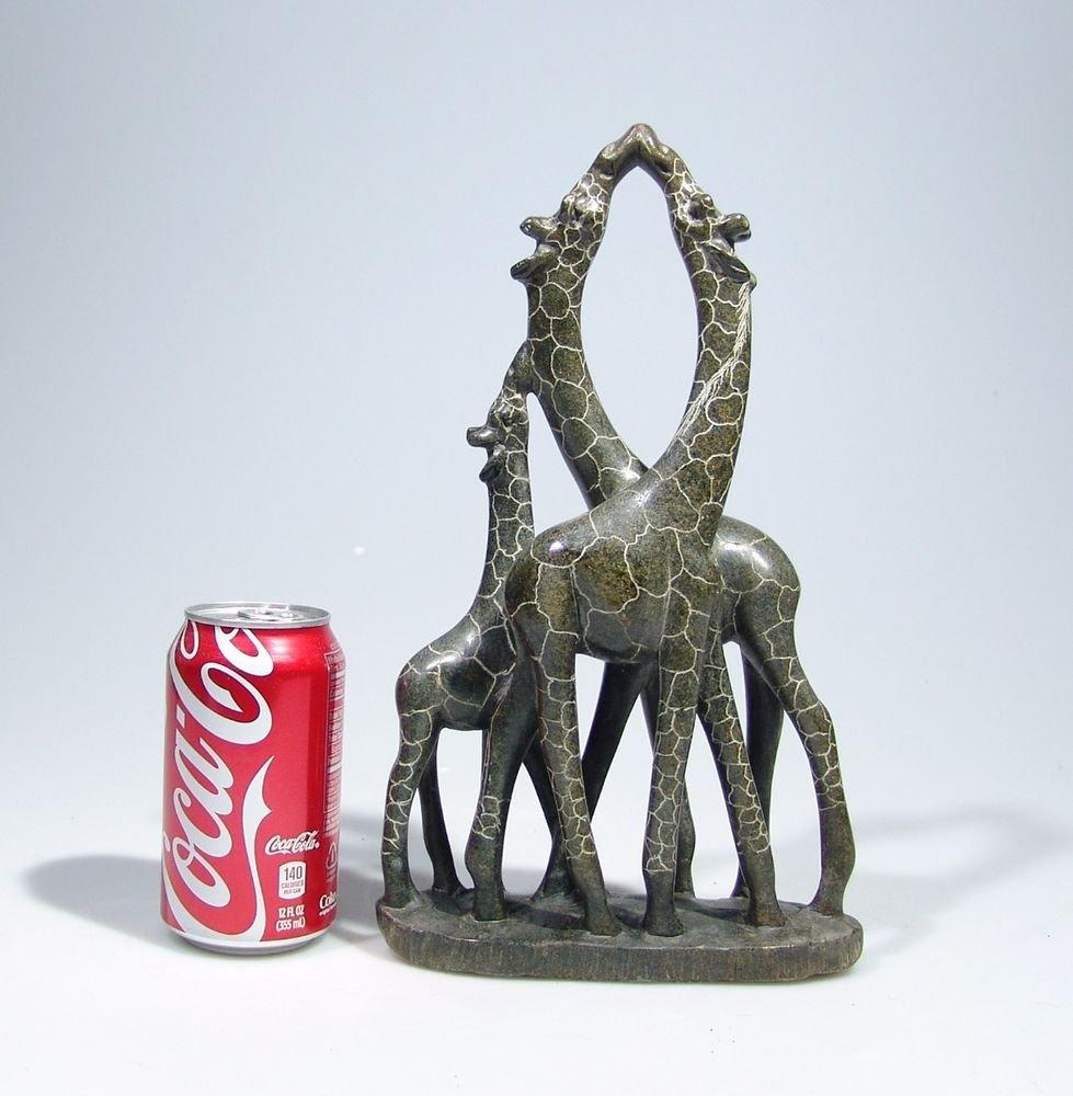 """""""Giraffe Family of Three"""" Hand Carved Shona Serpentine Stone ~Zimbabwe!"""