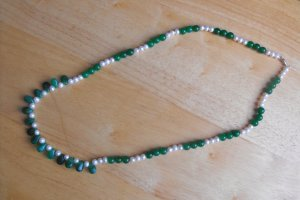 N15 Chrysophase and Pearl Necklace  50% OFF