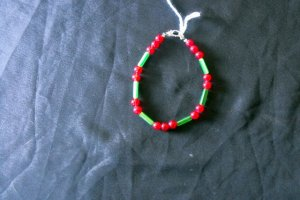 B23 Ruby and Green Cat's Eye Bracelet