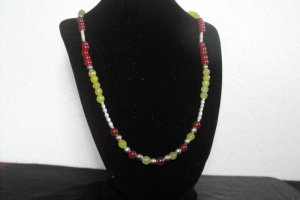 N80 Ruby,Peridot, and Pearl Necklace  50% OFF