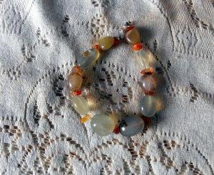 B34 Prehnite and Fire Opal Bracelet