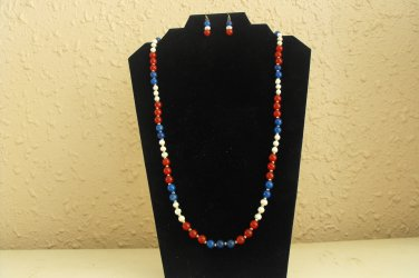 S77 Red,White and Blue Necklace Set  50% OFF