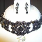 BLACK AUSTRIAN CRYSTAL NECKLACE EARRING CHOKER JEWELRY