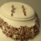 RED SILVER ART DECO CRYSTAL CHOKER NECKLACE