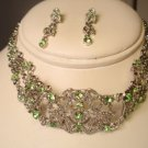 GREEN PERIDOT SILVER CHOKER NECKLACE EARRING JEWLERY