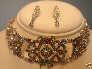 SILVER MULTI COLOR AUSTRIAN CRYSTAL NECKLACE EARRING CHOKER