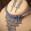 BEAUTIFUL HANDMADE SKY BLUE BEADED CHOKER SET WITH MATCHING EARRINGS
