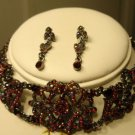 RED GARNET RUBY CRYSTAL CHOKER NECKLACE EARRING JEWELRY