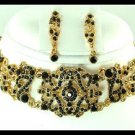 GOLD BLACK AUSTRIAN CRYSTAL NECKLACE EARRING CHOKER
