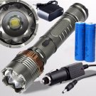 500Lumen 3Mode LED Zoomable Waterproof Flashlight Battery Charger