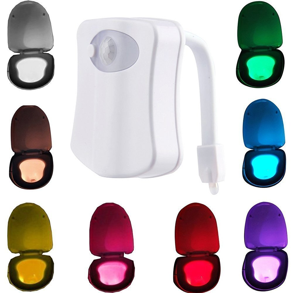 Motion Activated Sensor Toilet Nightlight 8 Color Changing Colorful Light