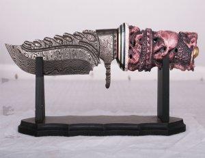 Camel Bone Carved Handle Damascus Steel Knife 13''