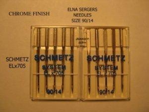 NEW 15 ELNA SCHMETZ NEEDLES ELx705 90/14 CHROME FINISH