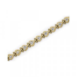 .20 CT DIAMOND HEART BRACELETS IN 14 KT YELLOW SETTING