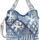 Rhinestone Geometric Design Fashion Handbag Blue Faceted Mirrored Tiles Suede
