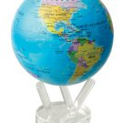"MOVA  Blue With Political  Map Rotating Motion Globe  4.5"" Satellite Spinning"