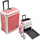 Rolling Makeup Case Cosmetic Organizer Hot Pink  Crocodile  Professional New PRO