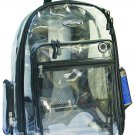 CLEAR Backpack Black See Through Security  Plastic Sports School Travel PVC NEW