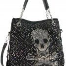 Rhinestone Skull Design Tote Black Fashion Handbag Iridescent Stones Jolly Roger
