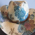 Western Cowgirl Hat Teal Brown Flower Cowboy Garden Style Sun Free Shipping New