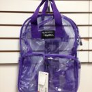 CLEAR Backpack PURPLE See Through Security  Plastic Sports School Travel PVC NEW