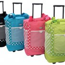POLKA-DOT Rolling Shopper Tote Wheels Carry-On NEW
