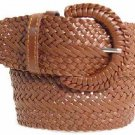 """Wide Brown Braided Belt for Women Leather 3"""" Cinch New fashion Casual Dress"""