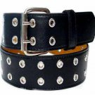 Black Wide Fashion 1 1/2 Inch Wide Leather Belt Silver Eyelets Ladies Free Ship
