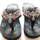 Montana West Flip Flops Child  Sandals Turquoise Cross Rhinestones Black