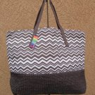 Brown & White Chevron Straw Shopper Beach Gym Tote Bag Large Handbag Big Purse