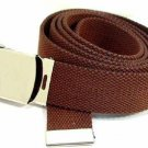 Men's BROWN Military Canvas Web Belt Silver Buckle