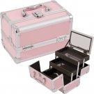 Makeup Train Case Cosmetic Organizer w/ Mirror 3 Trays PINK Aluminum Jewelry Box
