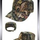 ADJUSTABLE LICENSED MOSSY OAK CAMO RHINESTONE Fleur De Lis  CAP HAT