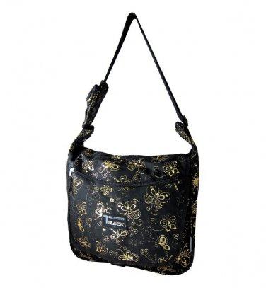 Black Messenger Sling  School Bag Butterflies GOLD 123