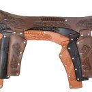 Western Leather Kids Holster Black Chocolate Natural Cowboy Belt Double Pistols