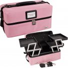 SOFT SIDED MAKEUP COSMETIC TRAIN CASE Pink 4 Shelves Make Up Professional