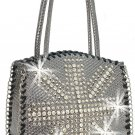 Rhinestone British Flag Design Metallic Basketweave Tote Purse Handbag Cross