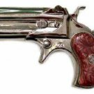 Derringer Gun Belt Buckle with BROWN Pearl Handle FREE SHIPPING New Pistol
