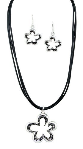 Silver Necklace Matching Earrings Clover Shape Free Ship Fashion Jewelery New