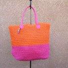 Hot Pink & Orange Straw Shopper Beach Gym Tote Bag  Handbag  Purse Big Large New
