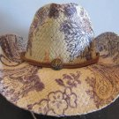 Western Cowgirl Hat Brown Blue Paisley Cowboy Garden Style Sun Free Shipping New