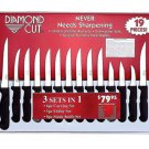 Diamond Cut 19pc Cutlery Set Never Needs Sharpening Knife FREE SHIPPING Gift New