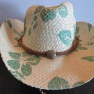 Western Cowgirl Hat Green Flower Leaves Cowboy Garden Style Sun Free Shipping